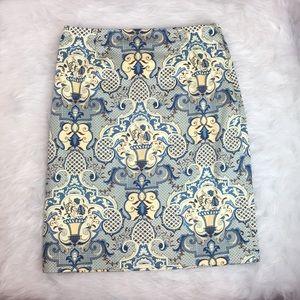 Talbots Medallion A Line Stretch Cotton Skirt